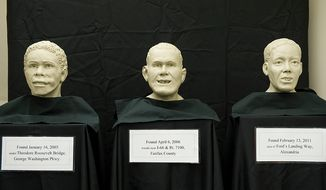 These are three facial approximations of unidentified male remains that were found in Northern Virginia between 2003 and 2011. They were unveiled Thursday, June 21, 2012 at the office of the chief medical examiner in Manassas, Va. in an effort to get the public's help in identifying them. There are currently some 220 unidentified remains in Virginia, and statistically one in three of those is a result of homicide. (Barbara L. Salisbury/The Washington Times)