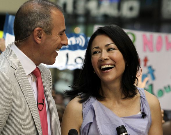 """Today"" show co-hosts Matt Lauer and Ann Curry appear during a segment of the NBC show in July 2011 in New York. (AP Photo/Richard Drew)"
