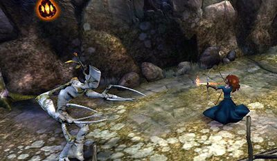 Princess Merida uses her bow to fight off creatures in Brave: The Video Game.