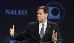 Sen. Marco Rubio, Florida Republican, speaks June 22, 2012, at the NALEO (National Association of Latino Elected and Appointed Officials) conference in Lake Buena Vista, Fla. (Associated Press)