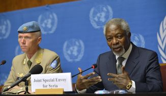 Kofi Annan (right), Joint Special Envoy of the United Nations and the Arab League for Syria, and Major-General Robert Mood, head of the U.N. Supervision Mission in Syria and Chief Military Observer, look on during a news briefing June 22, 2012, at the United Nations in Geneva. (Associated Press)