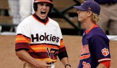 Virginia Tech's Andrew Rash (left, shown in a 2010 ACC Tournament game) had hopes of being taken in the MLB draft, but he wasn't selected after a disappointing junior season. (AP Photo/Jim R. Bounds)