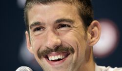 Michael Phelps speaks during a news conference at the U.S. Olympic swimming trials on Saturday, June 23, 2012, in Omaha, Neb. The trials are to start on Monday. (AP Photo/Mark Humphrey)