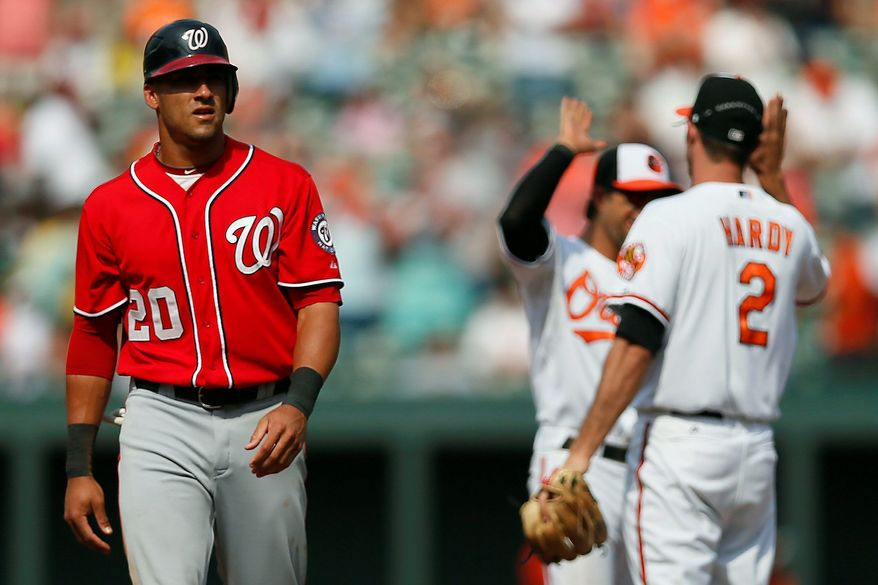 Ian Desmond walks off the field as Baltimore's J.J. Hardy (2) and Brian Roberts celebrate the Orioles' 2-1 win Sunday. (Associated Press)