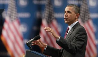President Obama speaks at the National Association of Latino Elected and Appointed Officials conference on Friday, June 22, 2012, in Lake Buena Vista, Fla. (AP Photo/John Raoux)