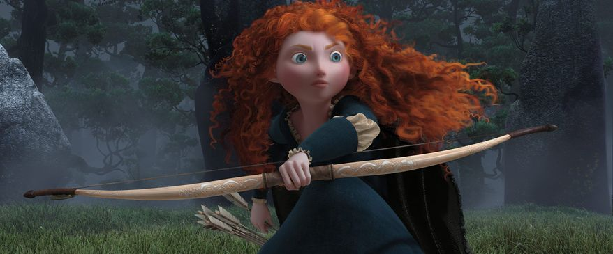 "Merida, heroine of Disney-Pixar's ""Brave,"" is voiced by Kelly Macdonald. She bucks her mother, the queen, preferring horseback riding and archery to her role as princess. (Associated Press)"