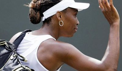 Venus Williams' 6-1, 6-3 loss to Elena Vesnina marked the first time since the 2006 Australian Open that she lost in the first round of a Grand Slam event. (Associated Press)