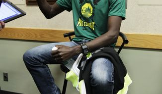 United States' Bernard Lagat talks to reporters June 1, 2012, the day before the Prefontaine Classic athletics meet in Eugene, Ore. (Associated Press)