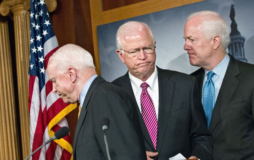 From left, Sens. John McCain of Arizona, Saxby Chambliss of Georgia and John Cornyn of Texas are among GOP senators pressing Attorney General Eric H. Holder Jr. to name an independent counsel to probe national security leaks. (Associated Press)