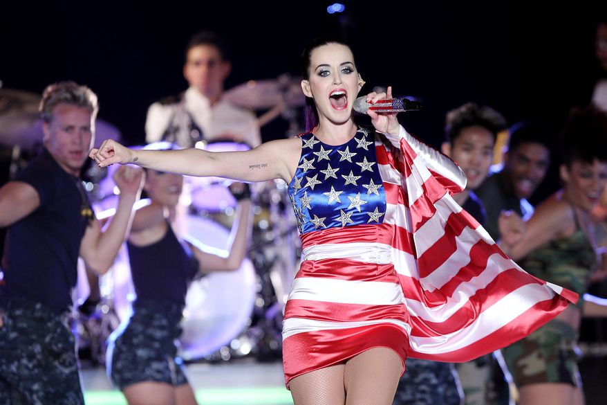 **FILE** Singer Katy Perry wears a patriotic dress as she performs May 23, 2012, at a Pepsi-sponsored event at Brooklyn Pier 9A, kicking off Fleet Week in New York. (Associated Press/Starpix)