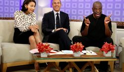 """NBC """"Today"""" shows co-hosts Ann Curry and Matt Lauer (center) banter Tuesday with actor Jimmie Walker of 1970s comedy series """"Good Times"""" fame. The TV entertainment rumor mill has Ms. Curry in danger of being axed from the show because of faltering ratings after more than 16 years at the top of the morning-show ladder. (NBC via Associated Press)"""