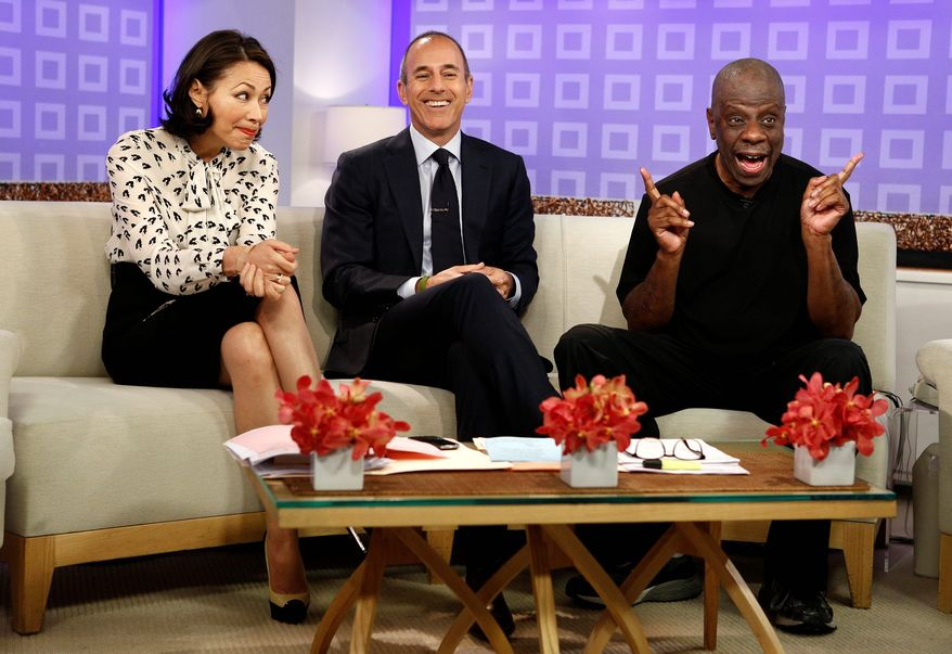 "NBC ""Today"" shows co-hosts Ann Curry and Matt Lauer (center) banter Tuesday with actor Jimmie Walker of 1970s comedy series ""Good Times"" fame. The TV entertainment rumor mill has Ms. Curry in danger of being axed from the show because of faltering ratings after more than 16 years at the top of the morning-show ladder. (NBC via Associated Press)"