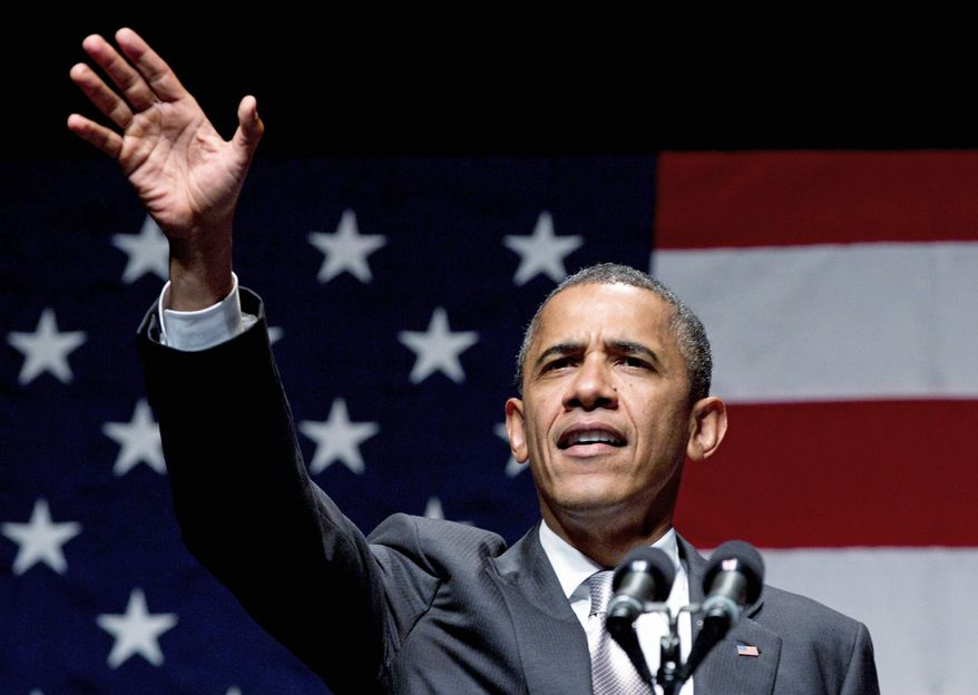 ** FILE ** President Obama speaks at a fundraising concert on Tuesday, June 26, 2012, in Miami Beach, Fla. (Associated Press)