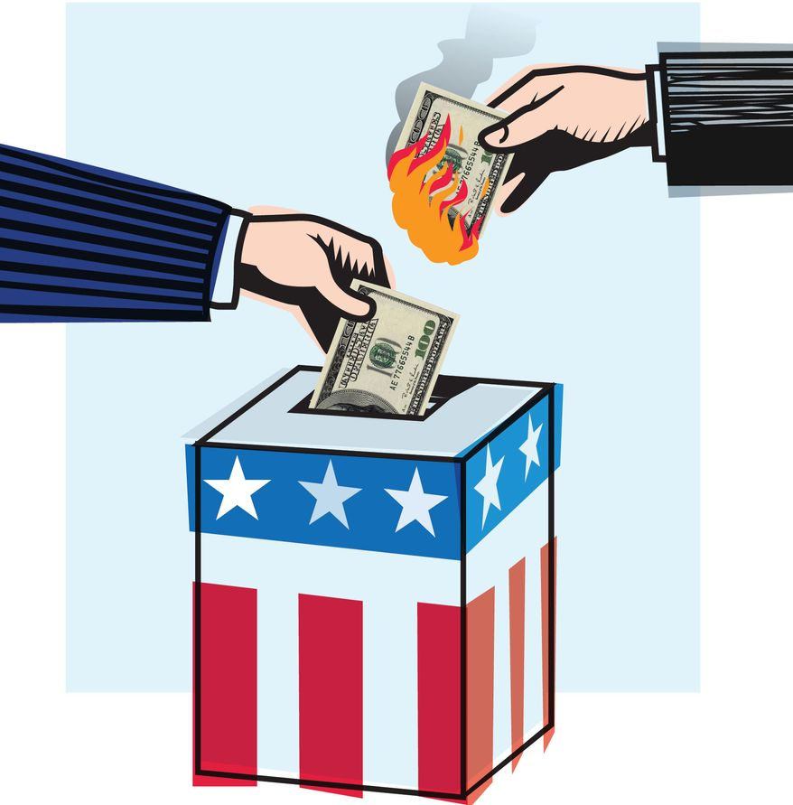 Illustration Buying Elections by Linas Garsys for The Washington Times