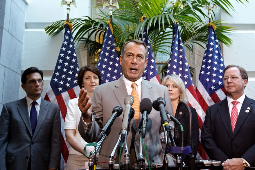 House Speaker John Boehner of Ohio, center, joined by other House GOP leaders, gestures during a news conference on Capitol Hill, Wednesday, June 27, 2012, following a political strategy session. From left are, House Majority Leader Eric Cantor of Virginia, Rep. Cathy McMorris Rodgers of Washington, Boehner, Rep. Renee Ellmers of North Carolina, and Rep. Bill Flores of Texas. (AP Photo/J. Scott Applewhite)