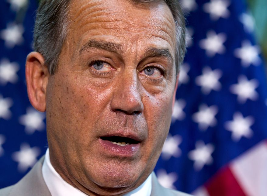 House Speaker John Boehner of Ohio, joined by other House GOP leaders, meets with reporters on Capitol Hill, Wednesday, June 27, 2012, following a political strategy session. Boehner defended the contempt of Congress vote against Attorney General Eric Holder, commented on the looming Supreme Court decision on the health care, and updated progress on student loans and the transportation bill. (AP Photo/J. Scott Applewhite)