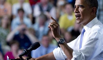 President Obama speaks Monday, June 25, 2012, at Oyster River High School in Durham, N.H. (Associated Press)