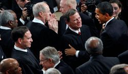 President Obama, greeting Chief Justice John G. Roberts Jr. before delivering his the State of the Union address, as a member of the Senate in 2005 voted against confirming the justice who would deliver the decisive vote in favor of his health care act. (Associated Press)