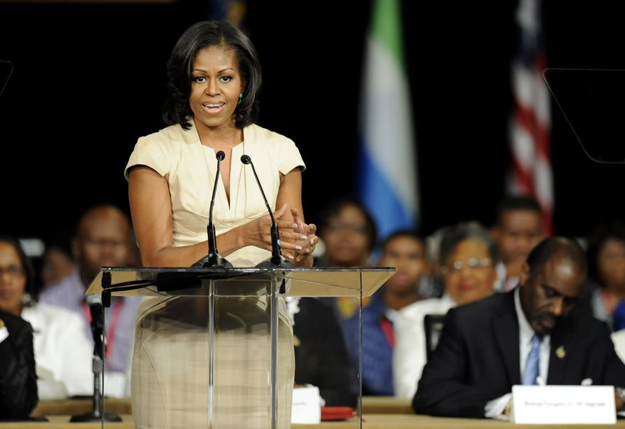 First lady Michelle Obama gives the keynote address at the general conference of the African Methodist Episcopal Church on Thursday, June 23, 2012, in Nashville, Tenn. (AP Photo/Donn Jones)