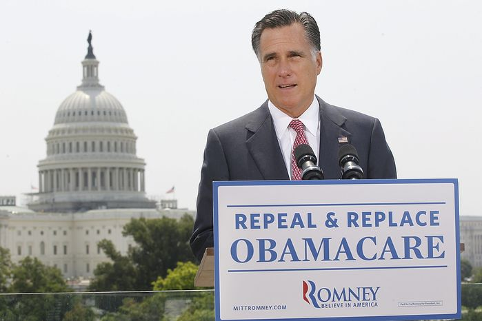 With the U.S. Capitol in the background, Republican presidential candidate and former Massachusetts Gov. Mitt Romney speaks about the Supreme Court's health care ruling on June 28, 2012. (Associate