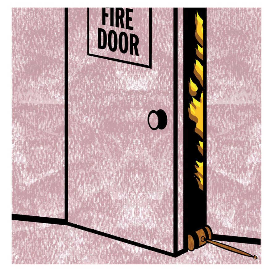 Illustration Fire Door by Alexander Hunter for The Washington Times