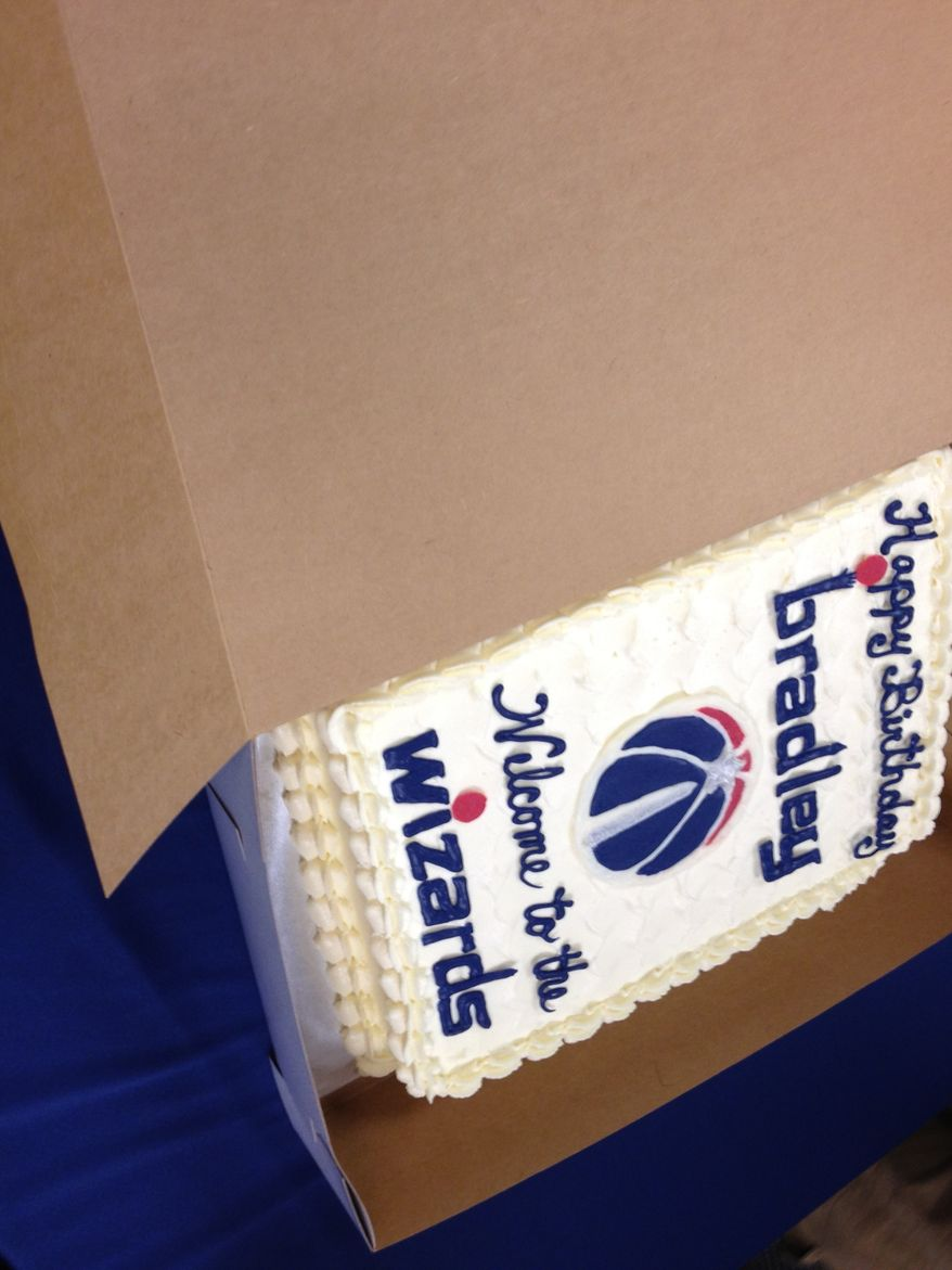 Bradley Beal's birthday cake. The newest Washington Wizard turned 19 on Thursday, the same night he was drafted No. 3. (Nicolas Nightingale/The Washington Times)