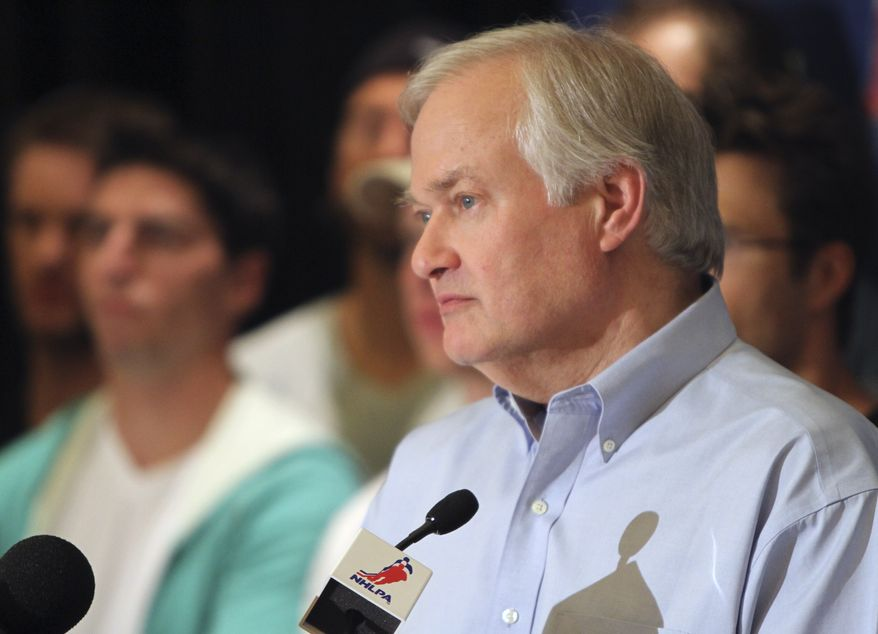 NHL Players Association executive director Donald Fehr speaks at a news conference after a meeting of the NHLPA executive board in Chicago on Wednesday, June 27, 2012. (AP Photo/Sitthixay Ditthavong)