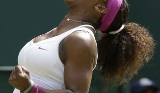 Serena Williams reacts to a point against Zheng Jie during a third-round women's singles match at the All England Lawn Tennis Championships at Wimbledon, England, on Saturday, June 30, 2012. (AP Photo/Anja Niedringhaus)