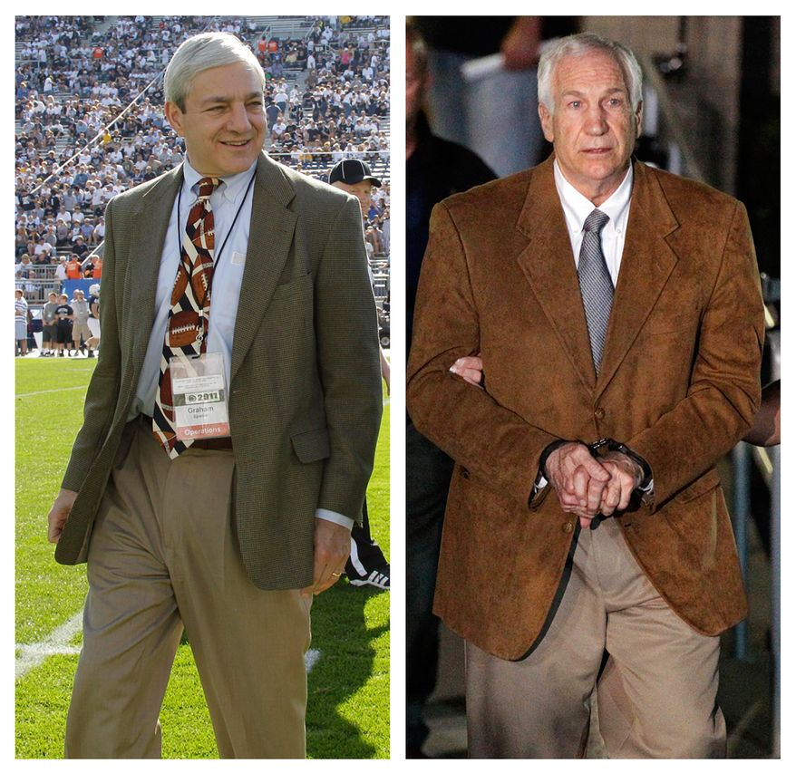 """In this photo combo, at left, in an Oct. 8, 2011 file photo, Penn State president Graham Spanier walks on the field before an NCAA college football game in State College, Pa. At right, former Penn State University assistant football coach Jerry Sandusky leaves the Centre County Courthouse in custody after being found guilty of multiple charges of child sexual abuse in Bellefonte, Pa., Friday, June 22, 2012. CNN says it has seen emails showing Spanier agreed not to take allegations of sex abuse against Sandusky to authorities but worried they'd be """"vulnerable"""" for failing to report it. CNN says the emails followed a graduate assistant's 2001 report of seeing Sandusky sexually assaulting a boy in a shower. (AP Photo/Gene J. Puskar, File)"""