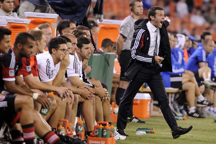 D.C. United Head Coach Ben Olsen yells at the referee during second half action against Montreal at RFK Stadium in Washington, D.C., on Saturday, June 30, 2012. (Preston Keres/Special to The Washington Times)