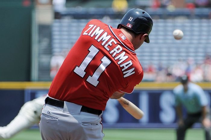 Ryan Zimmerman doubled and homered in Sunday's 8-4 win. Washington improved to 6-2 against Atlanta this season. (Associated Press)