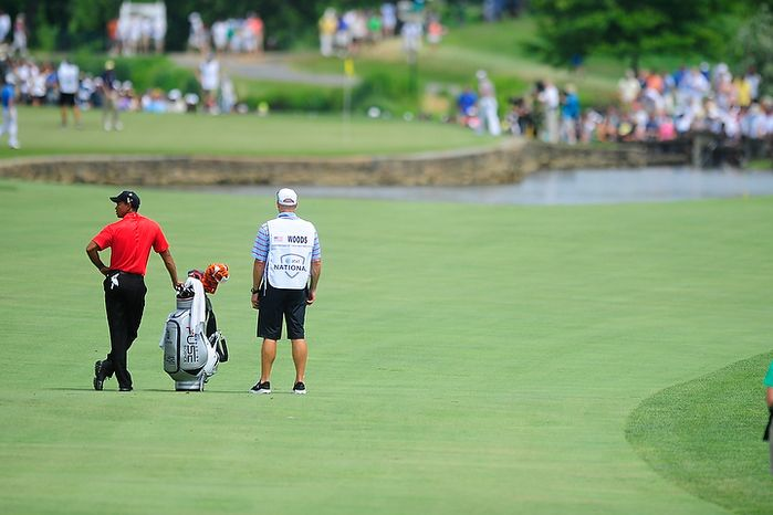 Tiger Woods waits to hit on the sixth hole at Congressional Country Club during final round play of the AT&T National golf tournament, Bethesda, Md., Sunday, July 1, 2012.  (Ryan M.L. Young/The Washington Times)