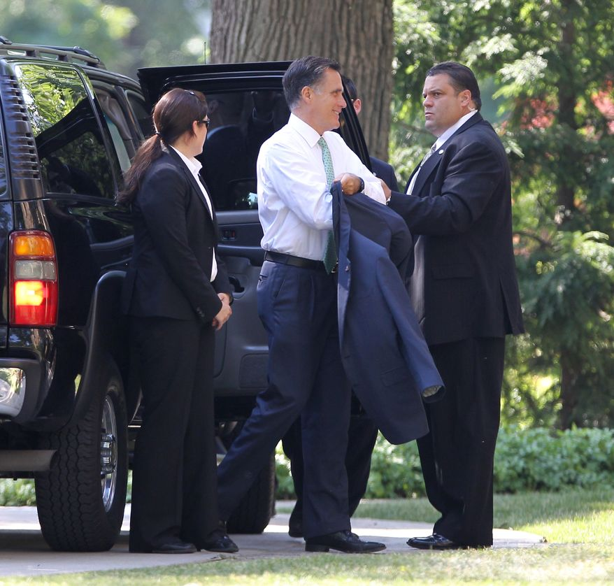 Presumptive Republican presidential candidate Mitt Romney arrives June 29, 2012, for a private fundraiser in Buffalo, N.Y. (Associated Press)