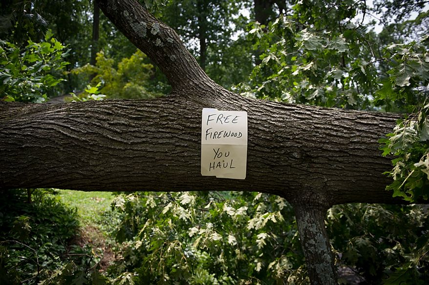 A humorous sign is posted on a large fallen tree on N.Virginia Avenue in Falls Church, Va., Sunday, July 1, 2012, two days after a deadly, severe storm left hundreds of thousands of people without power. (Rod Lamkey Jr./The Washington Times)