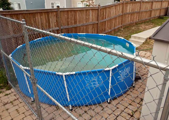An aboveground pool sits full in a backyard Monday in the 300 block of 55th Street Northeast. A D.C. firefighting crew went out of service Saturday for about a hour to fill the pool at a private residence dur