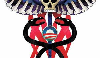 Illustration Socialized Medicine by Greg Groesch for The Washington Times
