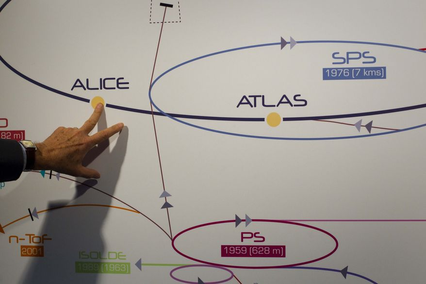 **FILE** A physicist explains the ATLAS experiment on a board May 20, 2011, at the European Center for Nuclear Research (CERN) outside Geneva. The illustration shows what the long-presumed Higgs boson particle is thought to look like. (Associated Press)