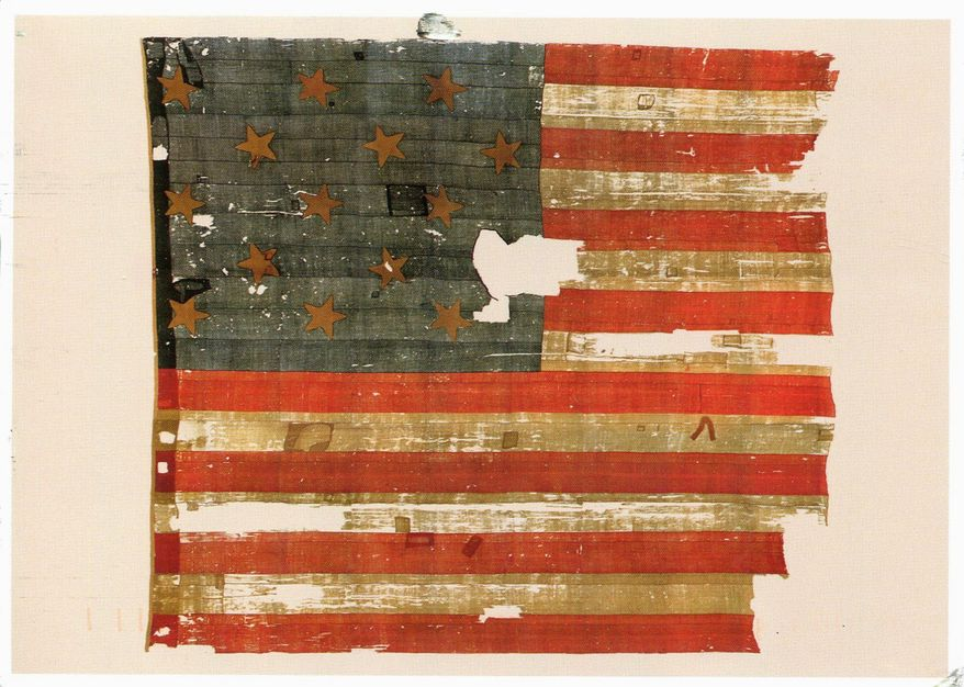 """The American flag flying at Fort McHenry during the War of 1812 inspired """"The Star-Spangled Banner,"""" but the war itself inspired little else. (Smithsonian Institution/National Museum of American History)"""