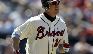 Atlanta Braves' Chipper Jones plays in a baseball game against the Baltimore Orioles Sunday, June 17, 2012, in Atlanta. (AP Photo/David Goldman)