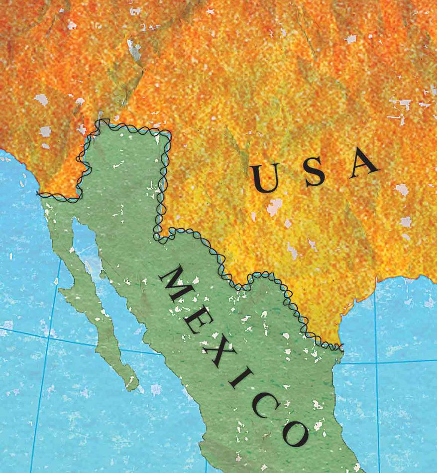 Illustration US/Mexico Border by Greg Groesch for The Washington Times