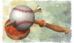 Illustration MLB in Court by Greg Groesch for The Washington Times