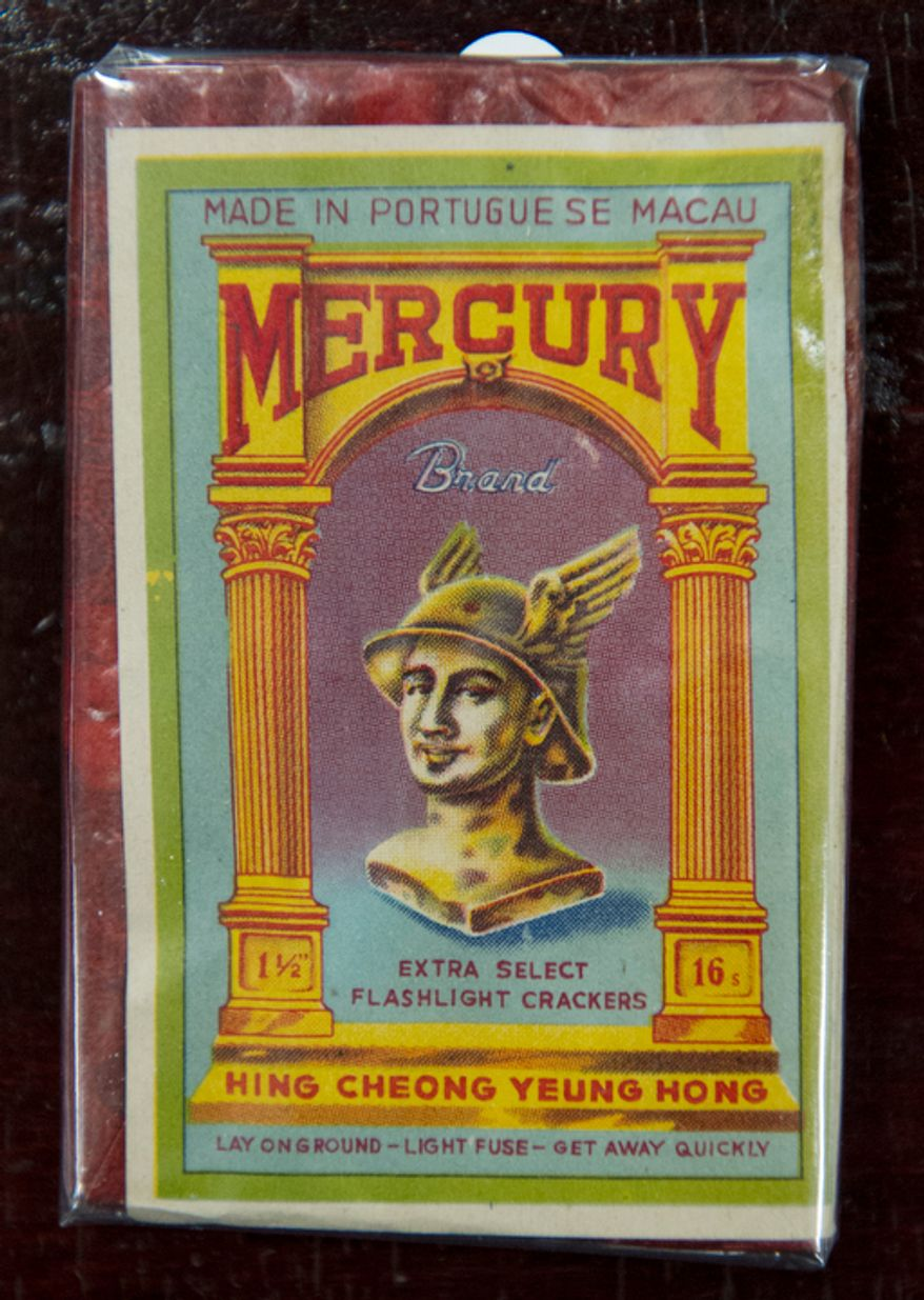 A pack of Mercury brand firecrackers, seen during an antique fireworks auction from the collection of George Moyer. The Moyer collection includes fireworks made in the United States, China, Macau, England, India and Canada. Some of the earliest items are Chinese black-powder firecrackers from the early 1800's. (Rod Lamkey Jr./The Washington Times)