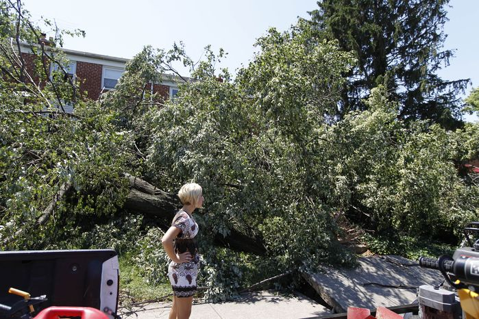 A pedestrian takes a look at downed trees blocking the entrance of a house in Baltimore on July 2, 2012, after a severe storm swept through the region four days earlier. Power outages left many to contend with stifling homes and spoiled food over the weekend as temperatures approached or exceeded 100 degrees. (Associated Press)