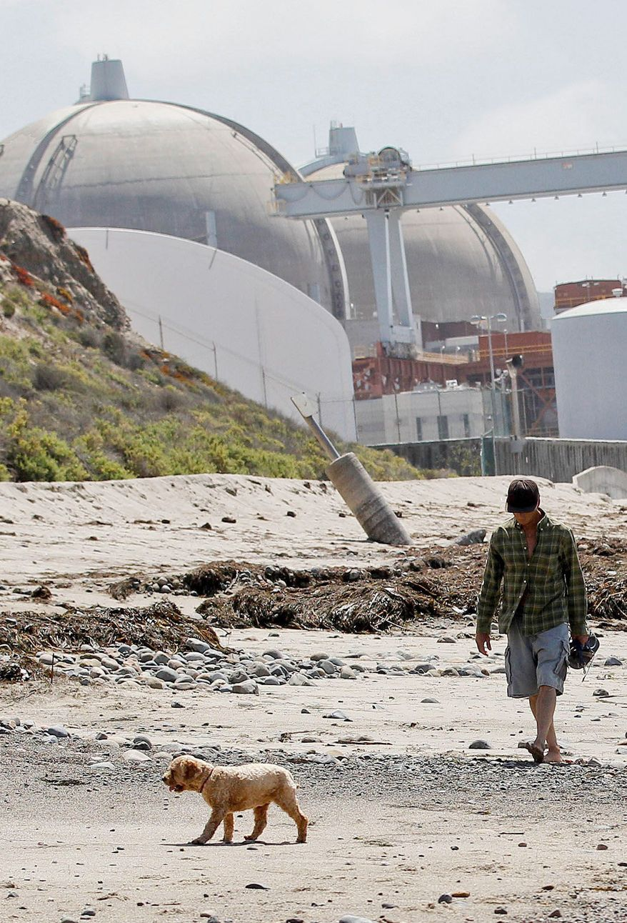 The San Onofre Nuclear Generating Station along the beach in San Onofre, Calif., has been offline since Jan. 31 because of mechanical problems. (Associated Press)
