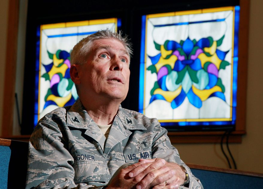 Col. Timothy Wagoner, a chaplain, discusses his duties in the McGuire Air Force Base chapel at Joint Base McGuire-Dix-Lakehurst in Wrightstown, N.J. (Associated Press)