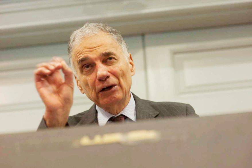Consumer activist Ralph Nader is urging Wal-Mart to raise its minimum wage to $12 per hour, contending it could boost the big-box retailer's bottom line. (Raymond Thompson/The Washington Times)
