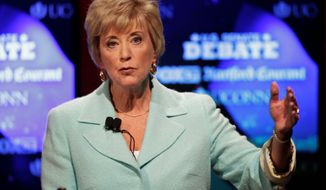 Linda McMahon is running again as an outsider for the U.S. Senate after losing her first race two years ago. She spent nearly $50 million of her own fortune in 2010 in a losing bid for U.S. Senate against Democrat Richard Blumenthal. (Associated Press)