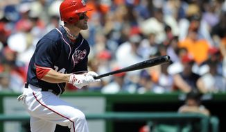 Washington Nationals outfielder Bryce Harper hit .270 with 22 home runs and 59 RBI in his first season in the big leagues. (AP Photo/Nick Wass)