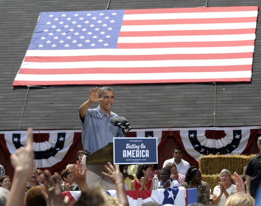 President Obama speaks July 5, 2012, at the Wolcott House Museum Complex in Maumee, Ohio. (Associated Press)