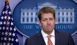 White House spokesman Jay Carney pauses June 27, 2012, during his daily news briefing at the White House. (Associated Press)